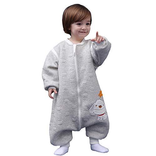 Schläfsack baby langarm winter kinderSchlafsack,Hund Muster Baby Schlafsack mit Füßen Baumwolle Junge Mädchen unisex ganzjahres Schlafanzug. (L:100cm 3-4Jahre, Grau)