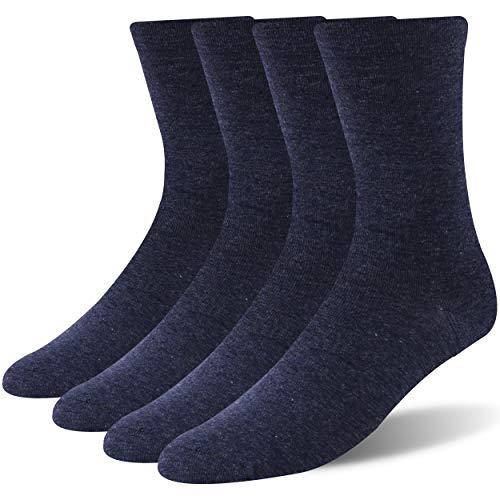 WXXM Non-Binding Socks for Adults, Summer Thin Cotton Crew Quarter Socks,Loose Top,4 Pairs