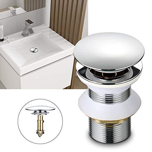 WOOHSE - Desagüe universal para lavabo, sin rebosadero, válvula de latón Pop Up Click Clack, válvula de desagüe para lavabo, desagüe de 1 1/4 pulgadas, montaje sin herramientas