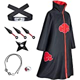 I3C Anime Cosplay Accessories Props Costume Cape Longue Ninja Perruque Rouge Akatsuki Bandeau Parures de Bijoux Bague Kunai pour Hommes et Femmes