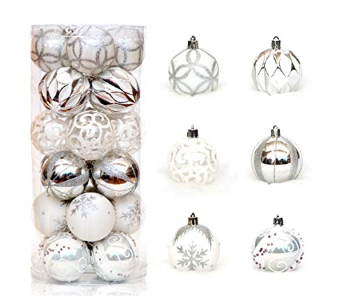 """Zinsale 6cm/2.36"""" 24pz Bagattelle per Alberi di Natale Sfere di plastica infrangibili Palle di Natale Decorazioni per Alberi Pendenti per Ornamenti Decorazioni per Feste (Argento + Bianco)"""