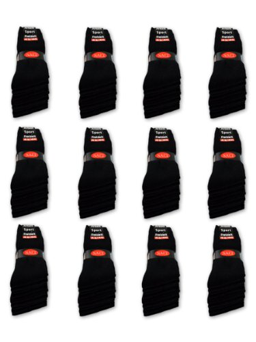 10 bis 60 Paar Sportsocken Tennissocken Arbeitssocken Herren Damen Socken Schwarz Baumwolle (43-46, Schwarz - 10 Paar)