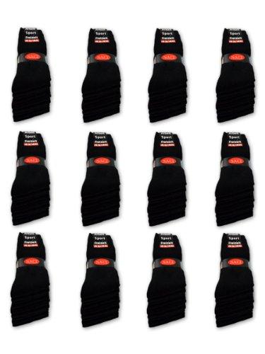 10 bis 60 Paar Sportsocken Tennissocken Arbeitssocken Herren Damen Socken Schwarz Baumwolle (39-42, Schwarz - 10 Paar)