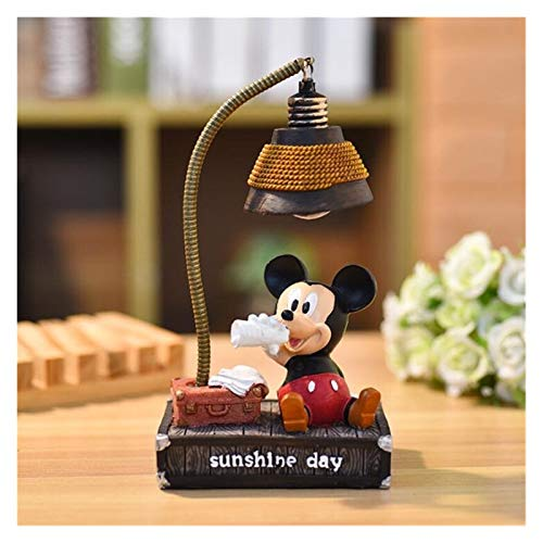 YSJSPKK Luz de Nocturna Lámpara de Mesa de Dibujos Animados de Dibujos Animados de luz Nocturna LED Anime Mickey Mouse Dormitorio Decoración Lampara (Emitting Color : Mickey)