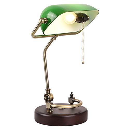 Tischleuchte grün mit Zugschalter,Retro Tischlampe grüne Schreibtischlampe Bibliotheksleuchte Banker Lampe im 20er Jahre Dekor,- Tischleuchte, Schreibtischlampe, Nachttischlampe,
