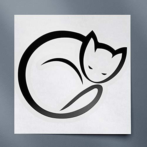 USCLIFESYLE Sleeping Cat Icon (Black) (Set of 2) Premium Waterproof Vinyl Decal Stickers for Laptop Phone Accessory Helmet Car Window Bumper Mug Tuber Cup Door Wall Decoration