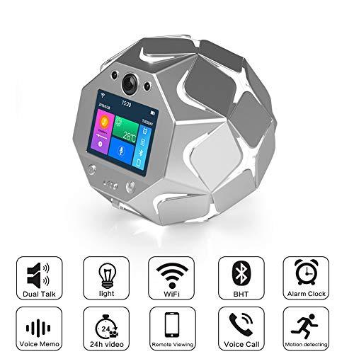 BESTSUGER Cámara Familiar WiFi, cámara con Altavoz Inteligente 3D, Altavoz Dual con Luces de Colores Detección de Movimiento Voz bidireccional