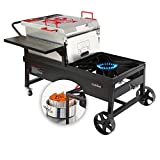 CreoleFeast CFT2018 Crawfish Seafood Boiler Cast Iron Burner Cooker Fryer Combo Outdoor Stove Propane Cooker with 10-psi Regulator, for Backyard Cooking Party