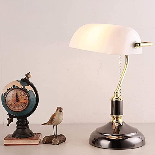 SpiceRack Accesorios para lámpara de Mesa, lámparas de Mesa Blancas, lámpara de banquero de Estilo Antiguo, lámpara de Escritorio Tradicional Retro para Sala de Estar, Oficina, Estudio, lect