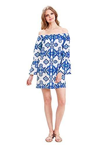 Amita Naithani - Modern Paisley Off-Shoulder Dress - Electric Blue - Small