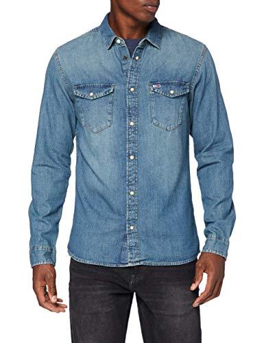 Tommy Jeans Herren TJM Western Denim Shirt Hemd, Blau (Mid Indigo), L