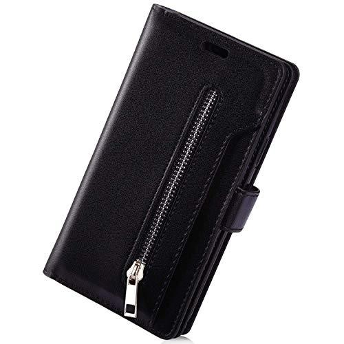 Herbests Kompatibel mit Samsung Galaxy A41 Handyhülle Handytasche Reißverschluss Multifunktionale Hülle mit 9 Kartenfächer Leder Filp Wallet Tasche Cover Brieftasche Schutzhülle,Schwarz