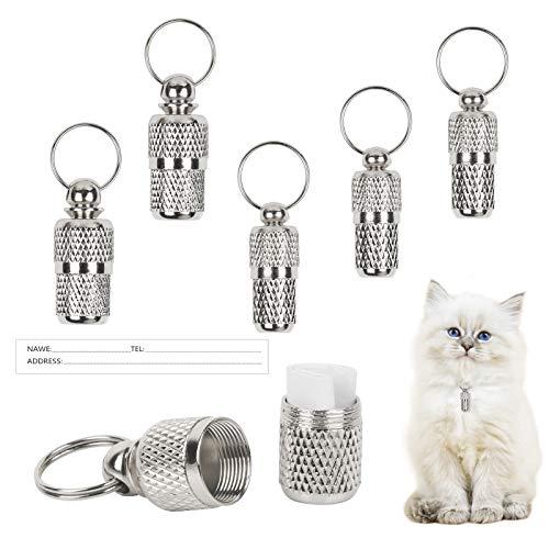 LANMOK 6pcs Etiquetas de Identificación de Mascotas, Colgante de Identificación para Mascotas Placas de Identificación Anti-Perdida para Perros Gatos Animales Pequeños (2 tamaños)