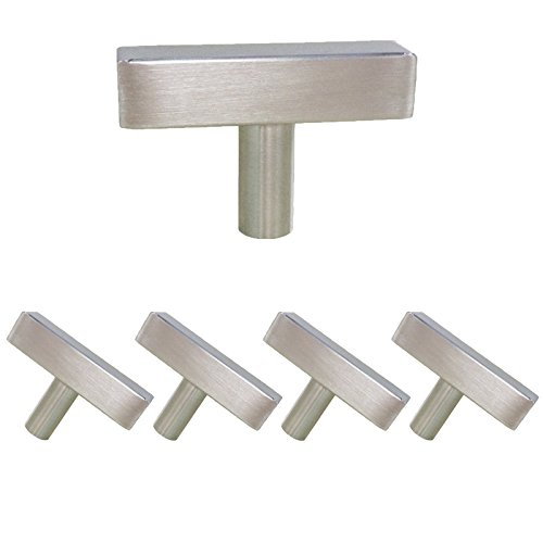 homdiy Cabinet Knobs Brushed Nickel 5 Pack - HDJ22SN Single Hole Knob with 2in Overall Length Knobs for Kitchen Cabinets Drawer Knobs Brushed Nickel