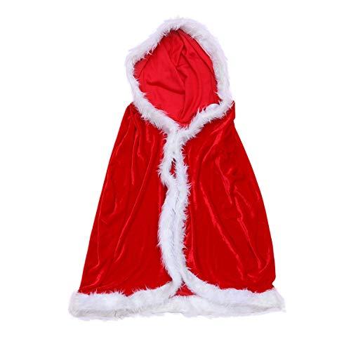 Toyvian Mantello natalizio con cappuccio rosso, in velluto, da donna, costume da Babbo Natale, travestimento per bambini