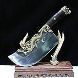 GLW Katana Handmade Chinese Sword Knife God Dragon Meat Cleaver Chopping Bone Knife Chef Chop Bone Knife 1000g Knife#01