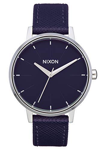 Nixon Kensington Leather Aubergine Casual Designer Women's Watch (37mm. Aubergine & Silver Face/Aubergine Leather Band)
