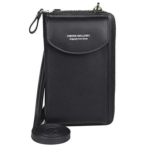Jangostor kleine crossbody tasche handy - tasche brieftasche mit credit card slots für frauen (black)