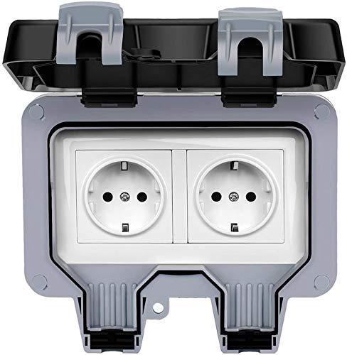 Enchufe exterior IP66, enchufe impermeable con interruptor independiente para ambientes húmedos, garajes, piscinas (2)