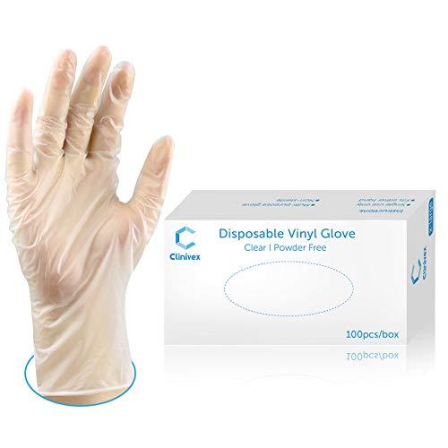 Clinivex Disposable Gloves, Box of 100pcs, Clear Vinyl Gloves Latex-Free, Powder Free(Medium)