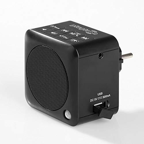 Steckdosenradio mit Bluetooth- Funktion/Bluetooth 4.2 / NFC/UKW Radio/integriertes Nachtlicht/USB Powerbank (Schwarz)