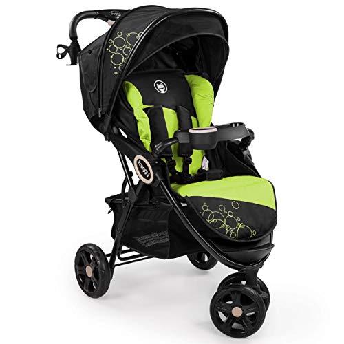 Froggy DINGO Dreirad | Kinderbuggy mit Liegefunktion | Kinderwagen für Reisen | Leicht nur 9 kg | Zusammenklappbar mit Liegeposition und Sonnenschutz | Lime