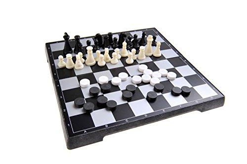 Quantum Abacus Magnetisches Brettspiel 2-in-1 (Reise-Größe): Schach, Dame - magnetische Spielsteine, Spielbrett zusammenklappbar, 20cm x 20cm x 2cm, Mod. SC2480 (DE)