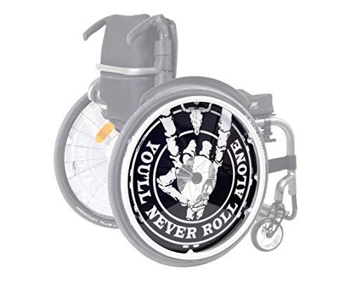 W:O:A 2x Speichenschutz für Rollstuhl 24 Zoll aus bruchfestem PET-Kunststoff inkl. Befestigungsmaterial I original lizensiertes Wacken-Open-Air Rollstuhl-Zubehör, extrem stabil, schwarz