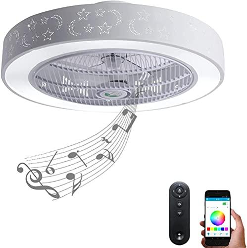 LED RGB Ventilatori da soffitto con lampada con altoparlante Bluetooth Musica telecomando plafoniere per soggiorno, camera da letto, cameretta dei bambini Ventilatore elettrico silenzioso dimmerabile