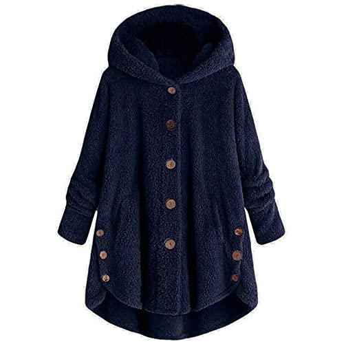 haoricu Women Oversize Jacket Button Hooded Sweatshirt with Pocket Solid Fleece Jacket Outwear Sweatshirt Navy