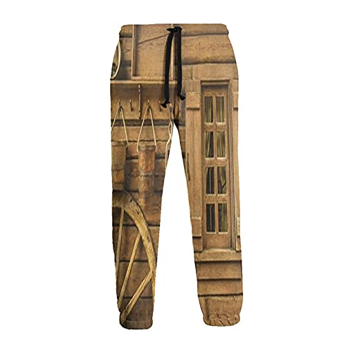 Pantalones deportivos para hombre con ruedas antiguas junto a la casa de madera rústica, cómodos y frescos pantalones deportivos con cordón suelto, Negro, 27-32