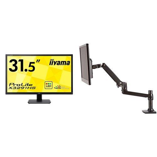 iiyama ディスプレイ モニター X3291HS-B1 31.5インチ/フルHD/HDMI端子付+Amazonベーシック モニターアーム シングル (モニターサイズ:32インチまで)セット