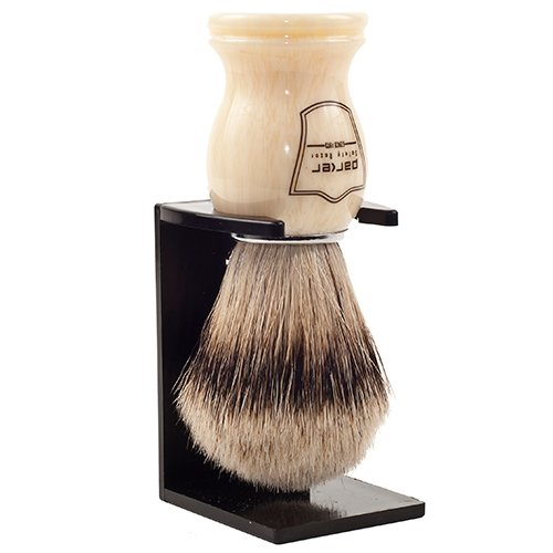 Parker Safety Razor's 100% Silvertip Badger Bristle Shaving Brush & Free Shaving Brush Stand - White Handle