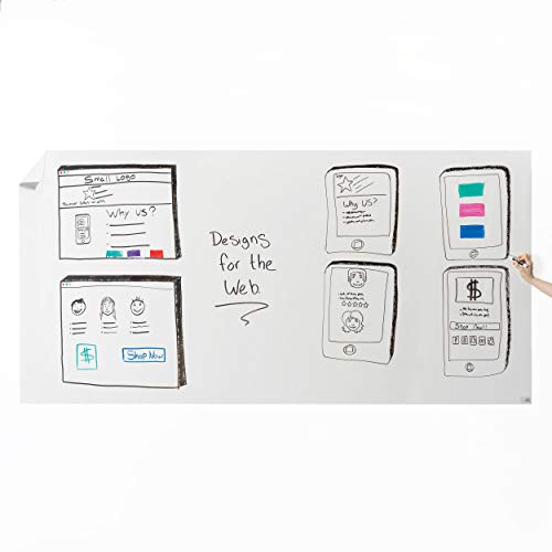 Think Board Whiteboard Wall Sticker – Self-Adhesive White XL Peel & Stick Decal – Dry Erase Removable Message Board for Home, Office & Dorms – Great for Organizing & Brainstorming– 4' x 8'