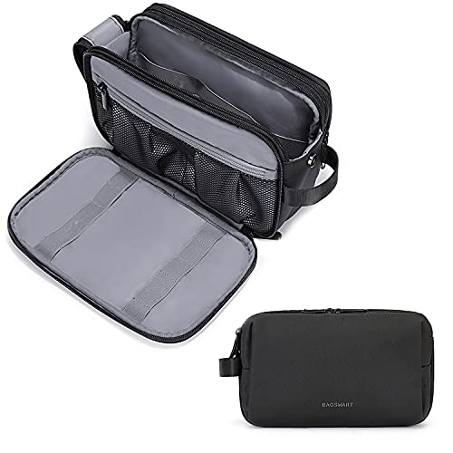 Toiletry Bag for Men, BAGSMART Travel Toiletry Organizer Dopp Kit Water-resistant Shaving Bag for Toiletries Accessories (Large Black)