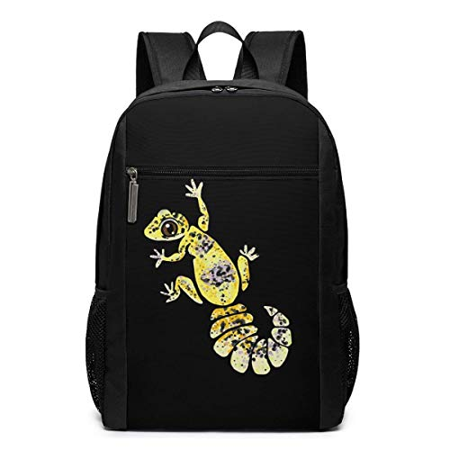 AOOEDM 17inch Travel Laptop Backpack for Women/Men,Yellow Leopard Gecko Durable Lightweight School Student Bag College Backpack Casual Daypack for Boys/Girls