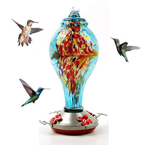 XINR Alimentador De Colibrí para Al Aire Libre Alimentador De Vidrio, con Gancho, Cuerda De Cáñamo, Cepillo, Colgante De Plomo De Alimentación De Flores Alimentación