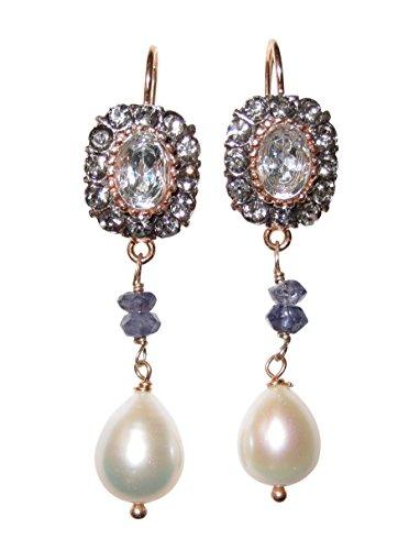 Perlen-Ohrringe heller Topas Strass-Steine Süßwasser-Perle Saphire Klappbügel Sterling-Silber Rot-Vergoldung 18 Karat festlich Hochzeit Geschenk Handarbeit Italien