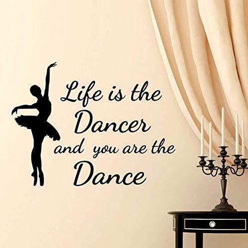 Vinyl Wandtattoo Zitat Das Leben ist der Tänzer und Sie sind der Tanz Ballett Tanz Wandaufkleber Wohnkultur Mädchen Zimmer Schlafzimmer Kunst 1 75x57cm
