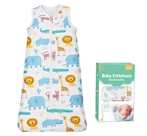 Adorfine Schlafsack Baby Sommerschlafsack 0.5 Tog Babyschlafsack aus atmungsaktiver Baumwolle Schlafsack Einstellbar 70-90cm Kleine Kinder Schlafanzug für Neugeborene 3-18 Monate