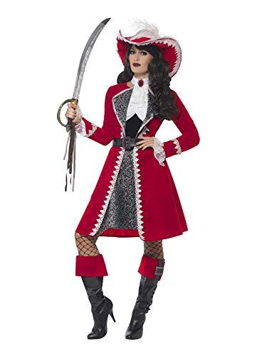 SMIFFYS Costume Capitano deluxe autentico da donna, rosso, con abito, giacca, cravatta e