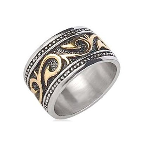 C&D Jewelry Tribal Ring for Men Stainless Steel Ring with 14K Gold IP - Rings for Men (12mm). Celtic Irish Steel Wedding Band, Wedding Ring or Anniversary Ring. Gothic Mens Rings Comfort fit. (11)
