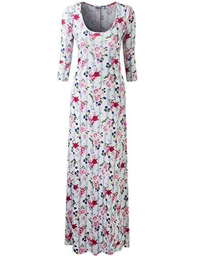 Doublju Vestido de manga larga con cuello redondo para mujer, con vuelo y talla grande -  Multi color -  1X Más