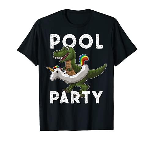 POOL PARTY Dinosaurier im Einhorn Schwimmreifen: Sommer T-Shirt
