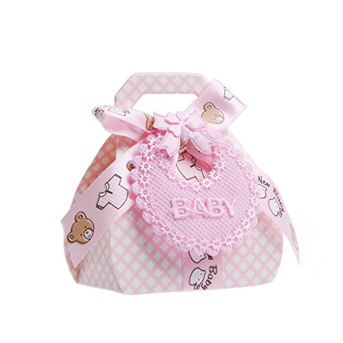 MB-LANHUA 12 Stück Pralinenschachteln mit Schleife für Babyparty Taufe Party Hochzeitsbevorzugung Geschenk DIY Pink