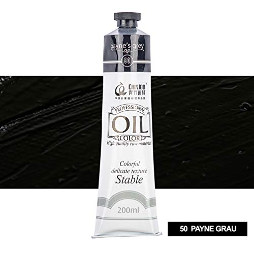 Ölfarbe in 18 Tönen je 200ml Feine Farben für Malen Profi Farben Top Preis (50 Peyne Grau)