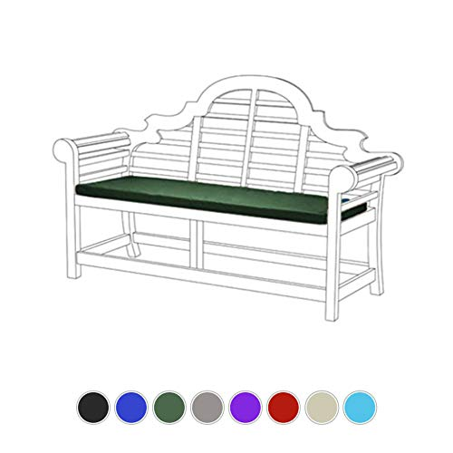 Gardenista Lutyens Garden Bench Cushion Pad | Outdoor Summer Patio Furniture 3 Seater | Water Resistant Material | Thick Foam Filling | Lightweight and Comfy (Green)