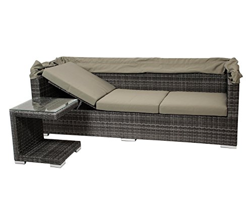 DEGAMO Funktions Loungeset MANACOR 16-teilig, Alu + Geflecht grau Bicolor, Polster taupefarben, XL-Ausführung mit 215cm Breite BZW. 195cm Liegefläche/Sitzbreite - 6