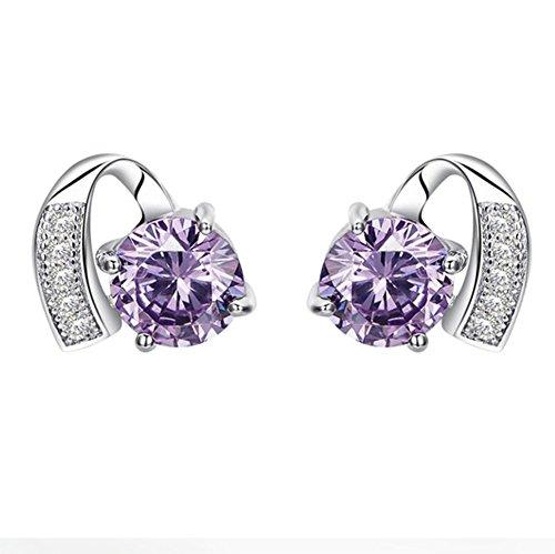 Topdo 1 par de pendientes brillantes de plata para mujeres y niñas, pendientes de cristal morado, accesorios de joyería clásicos