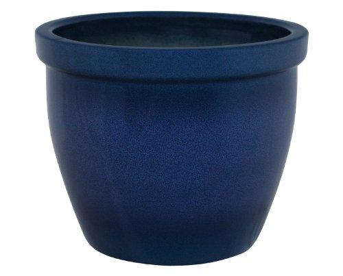 K&K Blumenkübel / Pflanzgefäß / Blumentopf / Pflanzkübel Venus II , 40 x 32 cm, blau-geflammt aus Steinzeug-Keramik (hochwertiger als Steingut)